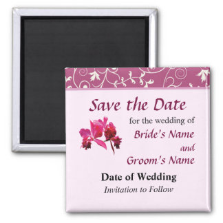 Magenta Orchids Save the Date Magnets