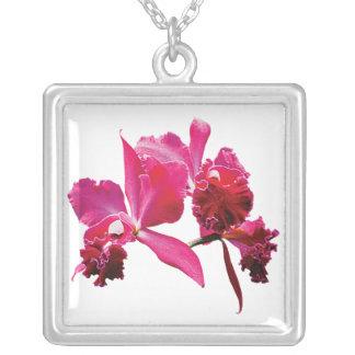 Magenta Orchids Square Pendant Necklace