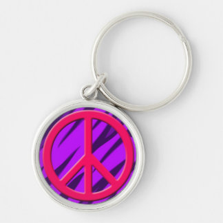 Magenta Peace Sign on Colorful Animal Pattern.jpg Keychain