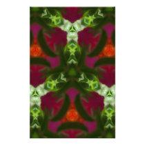 Magenta Peach Green Kaleidoscope Pattern Stationery