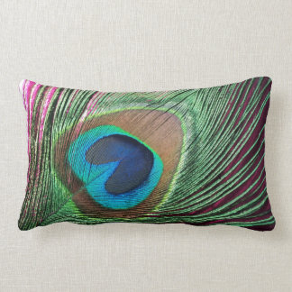 Magenta Peacock Lumbar Pillow