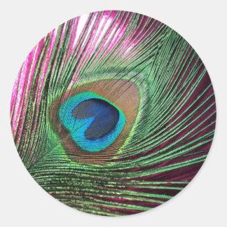 Magenta Peacock Classic Round Sticker