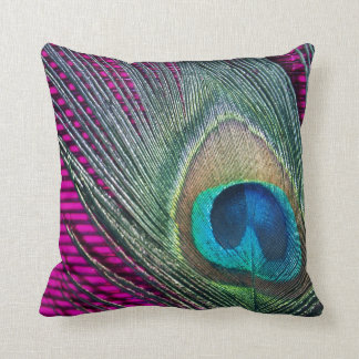 Magenta Peacock with Lines Pillows