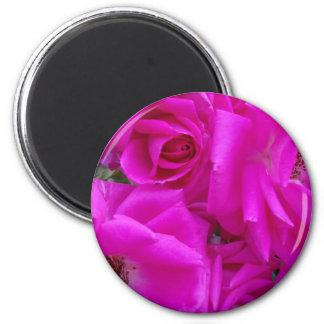 Magenta petals III 2 Inch Round Magnet