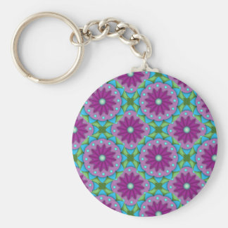 Magenta, Pink and Green Flower Pattern Keychain