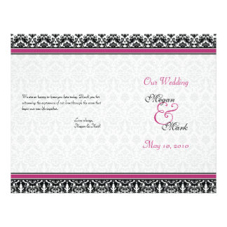 Magenta Pink Black Damask Wedding Program