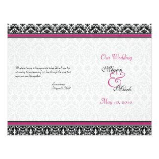 Magenta Pink Black Damask Wedding Program