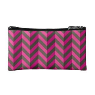 Magenta Pink Brown Zigzag Chevron Pattern Makeup Bag