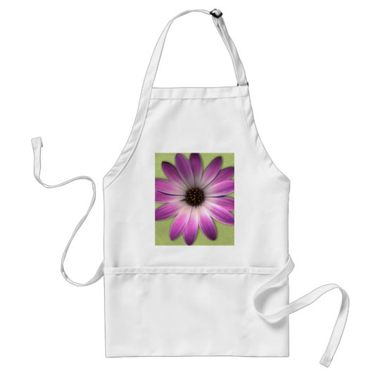 Magenta Pink Daisy on Lime Green Print Adult Apron