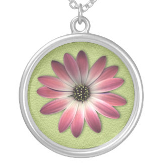 Magenta Pink Daisy on Lime Green Print Silver Plated Necklace