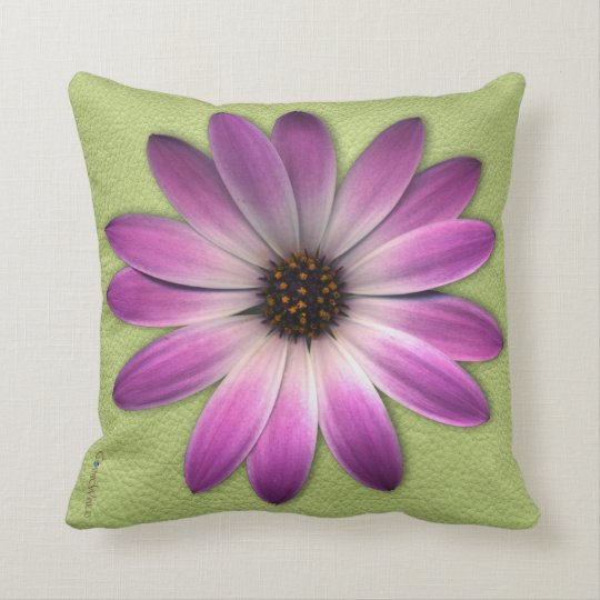 Magenta Pink Daisy on Lime Green Print Throw Pillow