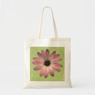 Magenta Pink Daisy on Lime Green Print Tote Bag