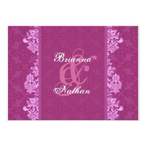Magenta Pink Damask Wedding Invitation