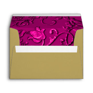 Magenta Pink Damask with Any Color Envelope