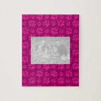 Magenta pink dog paw print pattern jigsaw puzzle