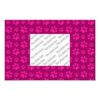 Magenta pink dog paw print pattern photo print