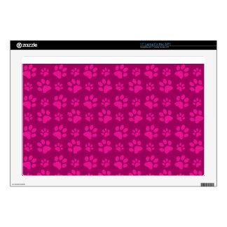 """Magenta pink dog paw print pattern 17"""" laptop decals"""