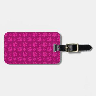 Magenta pink dog paw prints bag tag