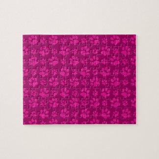 Magenta pink dog paw prints pattern jigsaw puzzles