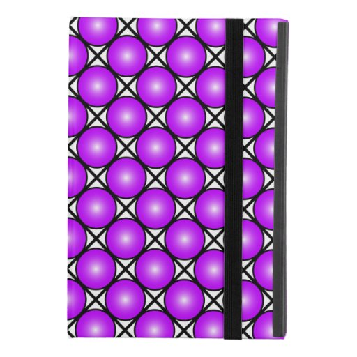 Magenta Pink Dots Black White Lattice Pattern iPad Mini 4 Case