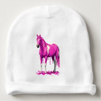 Magenta Pink Dripping Wet Paint Horse Baby Beanie