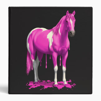 Magenta Pink Dripping Wet Paint Horse Binder