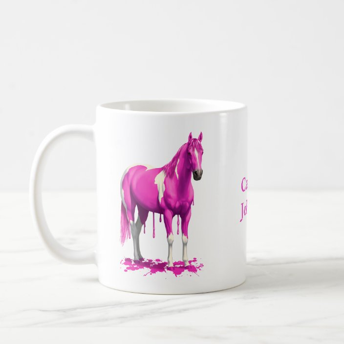 Magenta Pink Dripping Wet Paint Horse Coffee Mug Zazzle Com