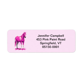 Magenta Pink Dripping Wet Paint Horse Label