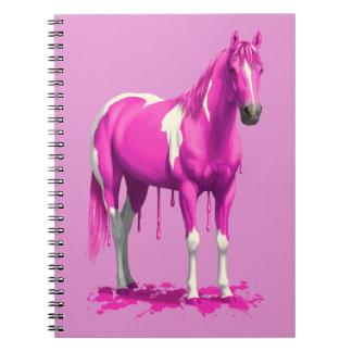 Magenta Pink Dripping Wet Paint Horse Notebook