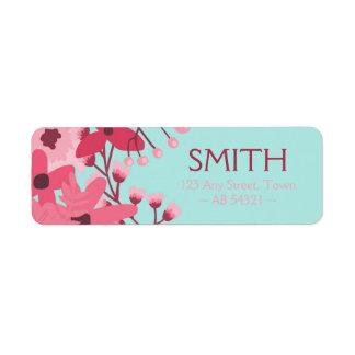 Magenta Pink Floral Spray Illustration Label