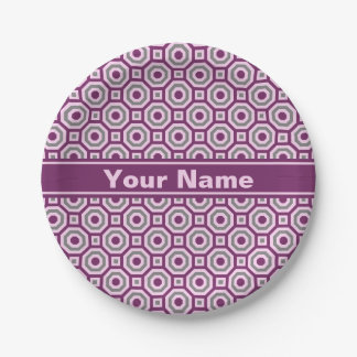 Magenta-Pink-Gray Nested Octagon Paper Plate