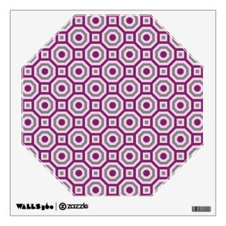 Magenta-Pink-Gray Nested Octagon Wall Decal