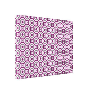 Magenta-Pink-Gray Nested Octagon Wrapped Canvas