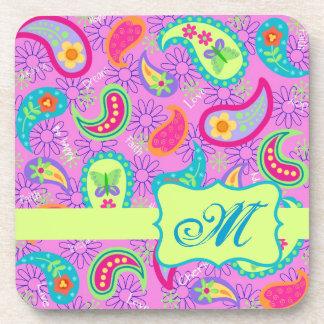 Magenta Pink Green Modern Paisley Pattern Drink Coaster