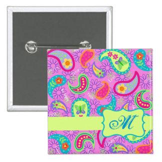 Magenta Pink Green Modern Paisley Pattern Pinback Button