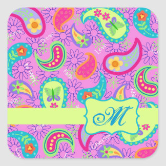 Magenta Pink Green Modern Paisley Pattern Square Sticker
