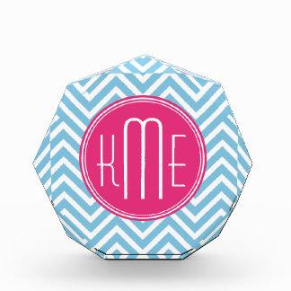 Magenta Pink Monogram with Light Blue Chevron Acrylic Award