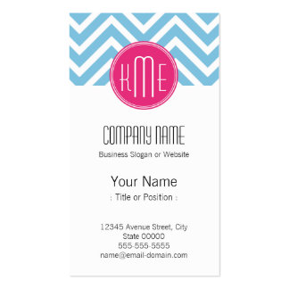 Magenta Pink Monogram with Light Blue Chevron Double-Sided Standard Business Cards (Pack Of 100)