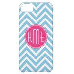 Magenta Pink Monogram with Light Blue Chevron Case For iPhone 5C