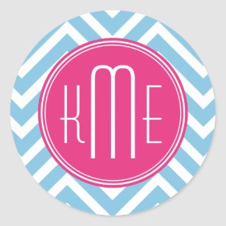 Magenta Pink Monogram with Light Blue Chevron Classic Round Sticker