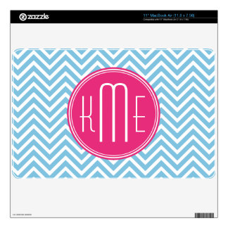 """Magenta Pink Monogram with Light Blue Chevron Decal For 11"""" MacBook Air"""
