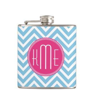Magenta Pink Monogram with Light Blue Chevron Hip Flask