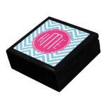 Magenta Pink Monogram with Light Blue Chevron Trinket Boxes