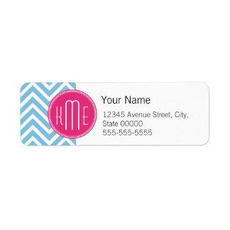 Magenta Pink Monogram with Light Blue Chevron Label