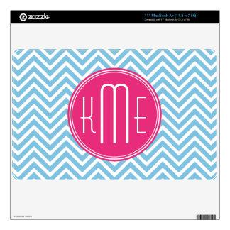 Magenta Pink Monogram with Light Blue Chevron MacBook Skin