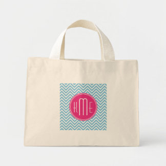 Magenta Pink Monogram with Light Blue Chevron Mini Tote Bag