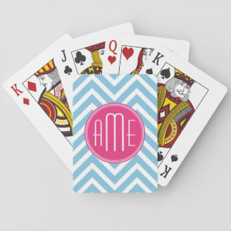 Magenta Pink Monogram with Light Blue Chevron Playing Cards