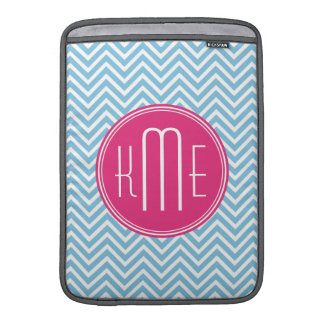 Magenta Pink Monogram with Light Blue Chevron Sleeve For MacBook Air