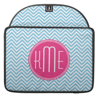 Magenta Pink Monogram with Light Blue Chevron Sleeve For MacBooks