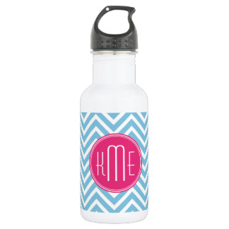 Magenta Pink Monogram with Light Blue Chevron Stainless Steel Water Bottle